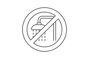 Forbidden sign with shower faucet linear icon