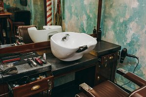 Workplace with a washbasin in barber