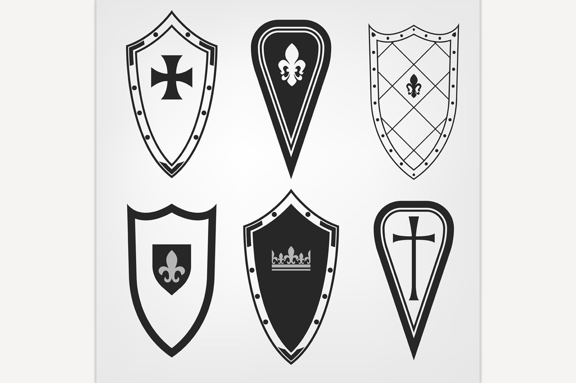 Medieval shields set illustrations creative market biocorpaavc Gallery
