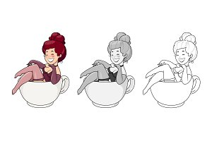 Beautiful girl sit in cup. Cartoon