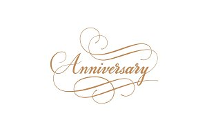 Anniversary calligraphy vector inscription