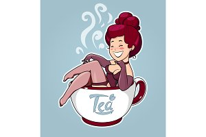 Beautiful girl sit in tea cup. Cartoon