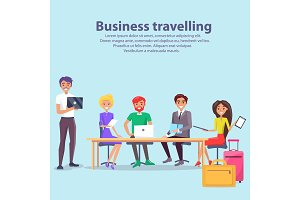 Business Travelling Workers Vector Illustration