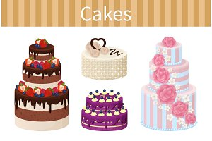 Various Delicious Desserts Vector Illustration