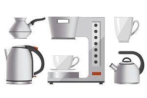 Set of Silver Kitchen Devices Vector Illustration