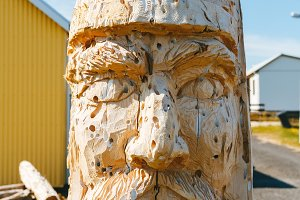 Viking's head carved in wood