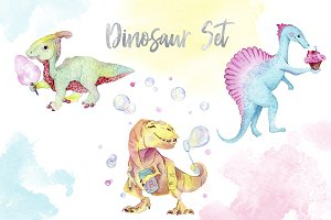 Watercolor dinosaur set