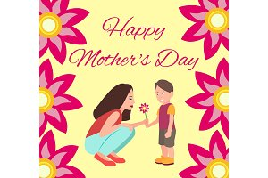 Happy Mothers Day Poster, Vector Illustration