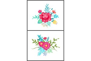 Set of Cute Floral Patterns on Vector Illustration