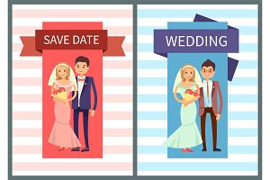 Save Date and Wedding Set Vector Illustration