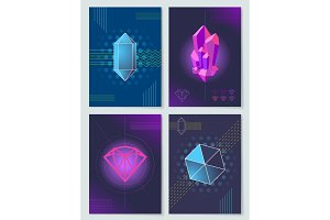 Bright Neon Lights and Geometric Shapes Posters
