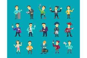 Set of different character design. Speaker politician and many others. Flat color vector illustration stock clipart on a blue background
