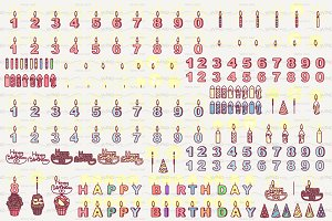 ♥ vector Happy Birthday icons