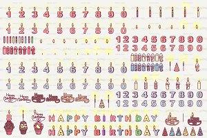 ♥ vector Happy Birthday icons