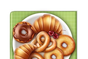 Bakery products on plate