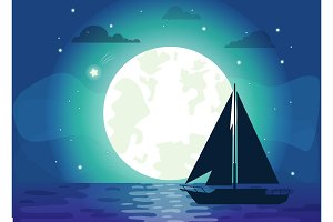 Silhouette of Ship with Moon Vector Illustration