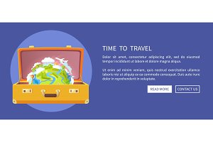 Time to Travel Suitcase Poster Vector Illustration