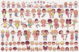 ♥ vector cute kids icons