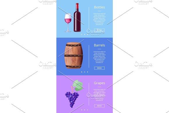 Bottles Barrels Grapes Web Poster Button Book Now