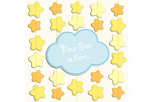 Cute card with stars as applique garland