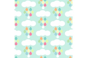 Cute baby retro seamless background as clouds with drops