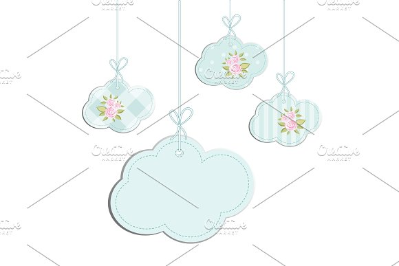 Retro Background As Handmade Fabric Clouds With Vintage Roses In Shabby Chic Style Scrap Booking Elements