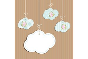 Retro background as handmade fabric clouds with vintage roses in shabby chic style, scrap booking elements