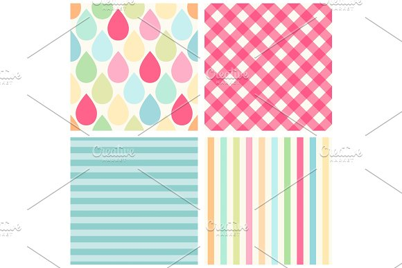Set Of Four Cute Retro Patterns With Drops Gingham And Striped
