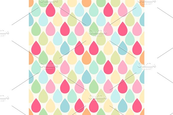 Cute Retro Seamless Pattern With Drops