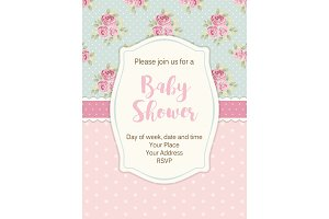 Cute shabby chic frame on roses and polka dots background