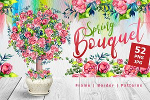 Spring bouquet PNG watercolor set