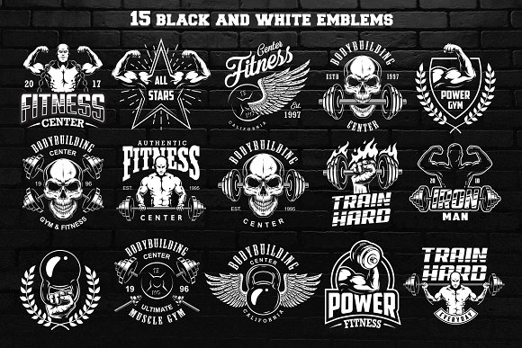 Bodybuilding Logo Templates Creative Market