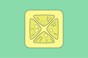 Lemon flat icon on color background