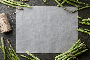 Fresh green asparagus frame