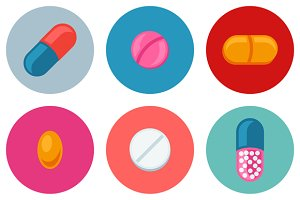 Set of pills and capsules icons.