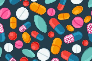 Patterns with pills and capsules.