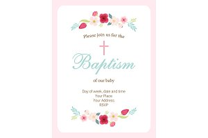 Cute vintage Baptism invitation card with hand drawn flowers