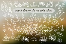 Floral hand drawn elements
