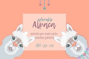 Adorable alpaca (llama) vector set