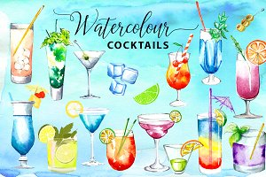 41 Watercolor Cocktails BIG Bundle