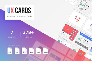 UX Cards - Flowchart & Sitemap Cards