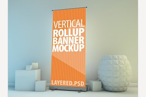 Roll Up Banner Mock-Up. PSD