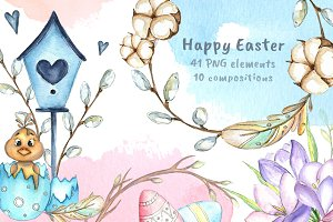 -50%SALE Happy Easter watercolor set
