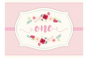 Cute shabby chic frame with roses on polka dots background