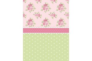 Cute shabby chic background with roses and polka dots