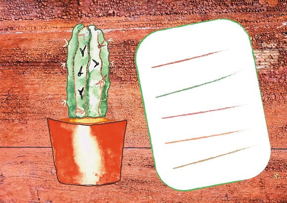 cactus on a wooden texture