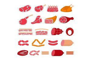 Meat products, vector illustration.