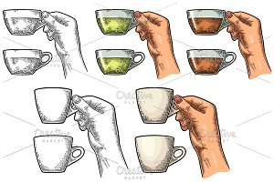 Female hand holding a cup of tea. Vintage color vector engraving