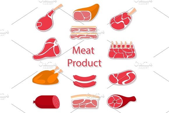 Meat Products Vector Illustration
