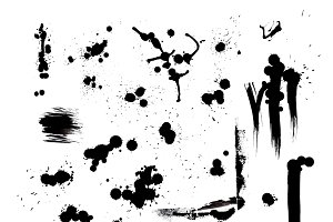 Vector set of artistic stains